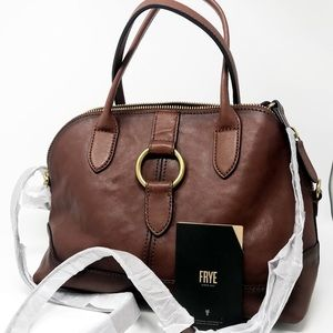 NEW FRYE Ring Dome Brown Cognac Leather Purse